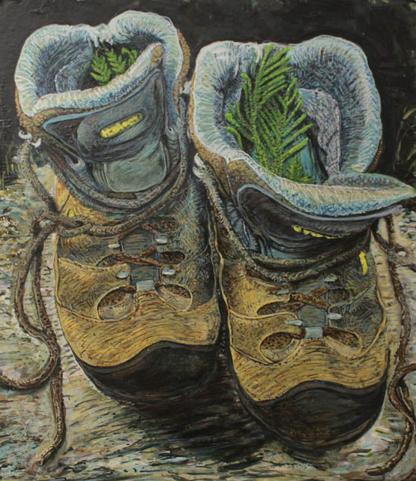 A Water Protector's Boots by Chaz John of the Institute of American Indian Arts